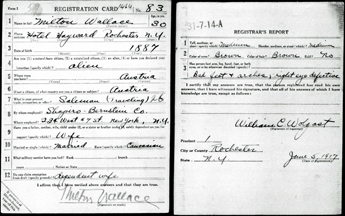 Milton Wallace's World War I draft registration card width=
