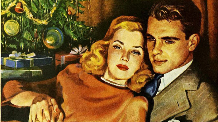 A 1940s couple cuddles in front of the radio, with a Christmas tree behind them