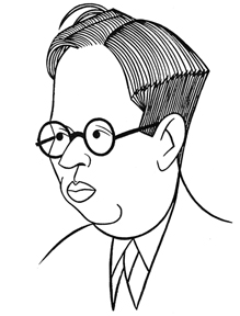 Caricature of playwright Elmer Rice