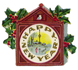 A vintage clock that says Happy New Year