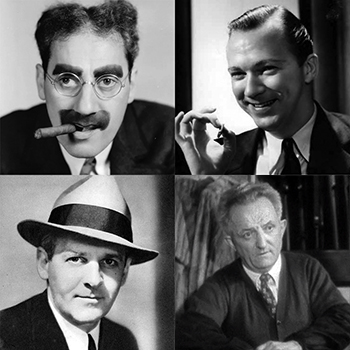 Clockwise from upper left: Groucho Marx, Lee Tracy, Milton Wallace and Walter Winchell