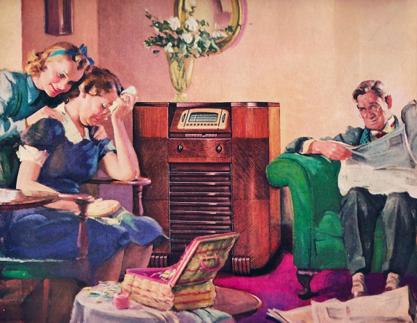 A family listens to Cladrite Radio