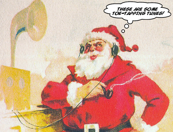 Santa listens to classic Christmas music on Cladrite Radio