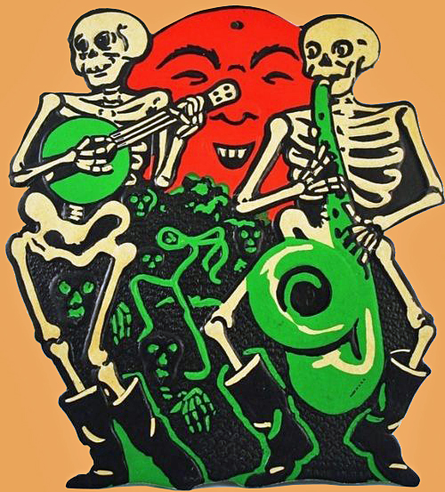 A vintage graphic of two skeletons playing a saxophone and a banjo