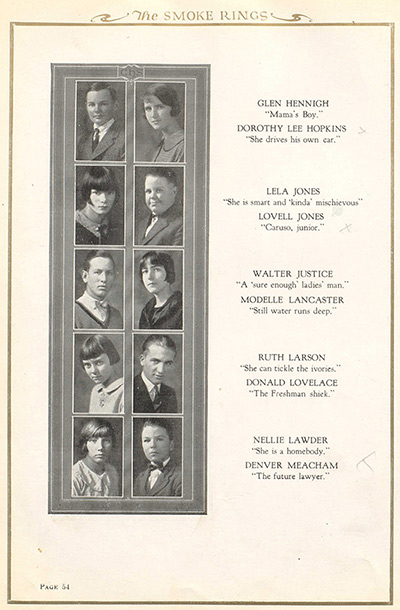 Ruth, age 12, as seen in the 1924-25 Clinton (Oklahoma) High School yearbook