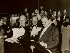 Deems Taylor, composer Sigmund Romberg, and Alexander Woollcott in the studio, circa 1935