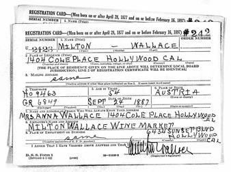 Milton Wallace's World War II draft registration card width=
