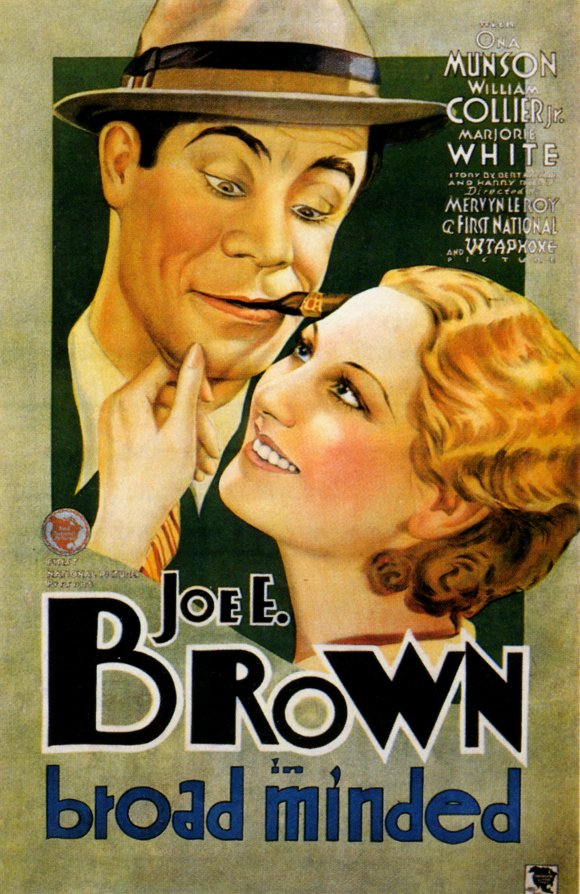 A movie poster from Broadminded, featuring Joe E. Brown and Thelma Todd